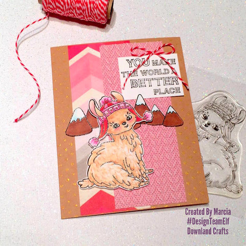#thefrolickingfairy #downlandcrafts #designteamelf #sittingpretty #llama #youmaketheworldabetterplace #valentinesday #justbecause #copiccoloring #pinkandred #handmade