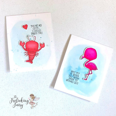 #thefrolickingfairy #casology #casologychallenge #cardchallenge #darciesheartandhome #seasidebuddies #seaside #coastalliving #lobster #flamingo #watercolor #breareese #shimmer #cas #cleanandsimple #papercraft #cardmaker #handmade