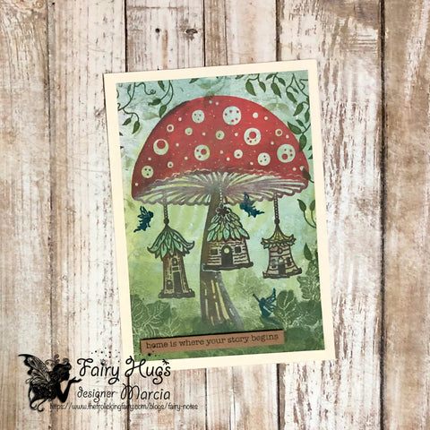 #thefrolickingfairy #fairyhugs #fairies #faeries #fairycondo #mushroomhouse #mushroom #toadstool #condodwellers #weefairies #faeryfolk #woodland #fairymagic #fairyscene #gelliplate #gelplate #gelli_arts #coloredpencils #fairyhugsstore #silhouettes #cardmaker #cardmaking #cardmakersofinstagram