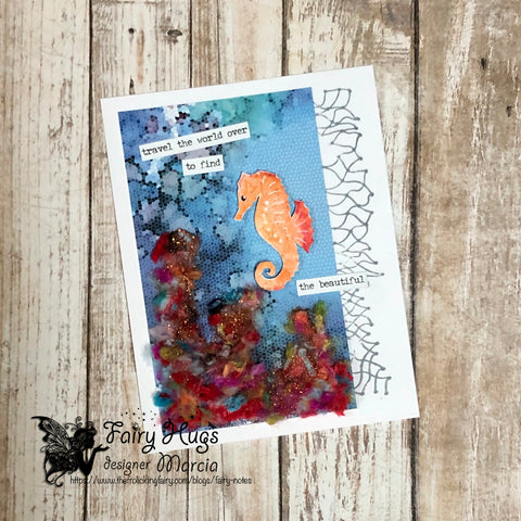 #thefrolickingfairy #fairyhugs #fairyhugsstore #seahorses #underthesea #net #coralreef #fairyscapes #patternedpaper #fibers #yarn #mixedmedia #tim_holtz #sentiments #findthebeautiful #cardmaker #cardmaking #cardmakersofinstagram