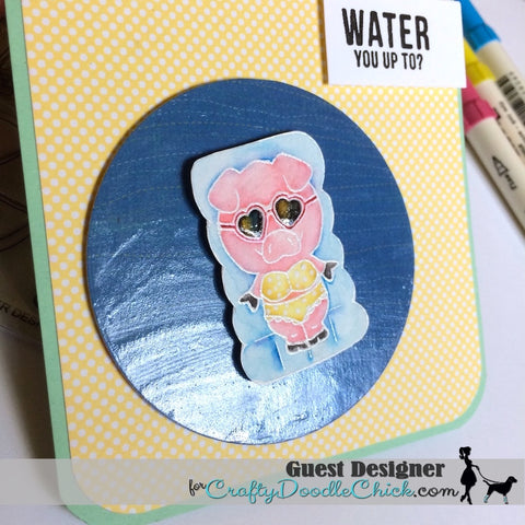 #thefrolickingfairy #craftydoodlechick #gerdasteinerdesigns #simonsaysstamp #poolpiggies #seayousoon #pool #pig #summer #distressmarkers #watercolor #staycool #handmade #handmadecards