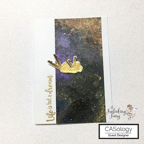 #thefrolickingfairy #casology #casologychallenge #leap #cueword #heroarts #mymonthlyhero #lifeisbutadream #galaxy #painting #arteza #metallicpaint #cas #cleanandsimple #fly #flyfree #likeabird #papercraft #handmade #cardchallenge