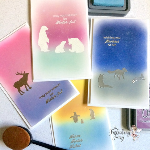 #thefrolickingfairy #heroarts #winteranimals #cas #cleanandsimple #inkblending #silverfox #winter #winterful #reindeer #polarbear #penguins #silhouettes #cardcollection #a2zscrapbooking #cardchallenge #winterwonderland #handmade