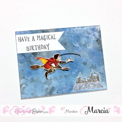 #thefrolickingfairy #heartcraftpaper #harold #quidditch #flying #magical #magicalbirthday #hogwarts #magicalschool #lawnfawn #slidercard #interactivecard #handmade #handmadecard #distressoxides #birthday #birthdaycard