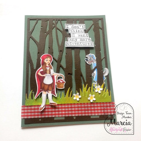 #thefrolickingfairy #heartcraftpaper #littlered #grandmawolf #fairytale #twisted #redridinghood #wolf #adventures #copiccoloring #tayloredexpressions #dylusionssentiment #lawnfawn #handmade #handmadecards