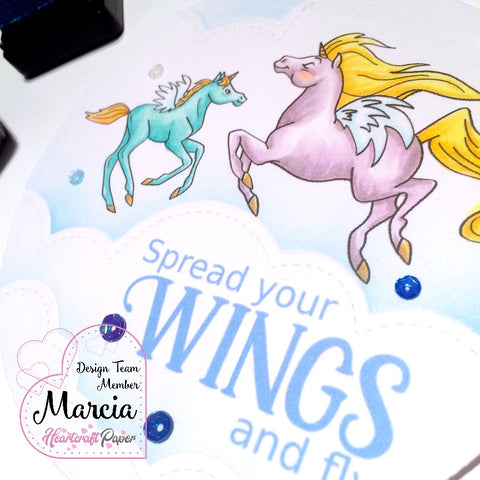 #thefrolickingfairy #heartcraftpaper #digitalstamps #unicorn #unicorn pegasus #pegasus #magical #flyinghigh #inadream #amongtheclouds #spreadyourwings #copiccoloring #distressink #lawnfawn #dryembossing #handmade #handmadecards