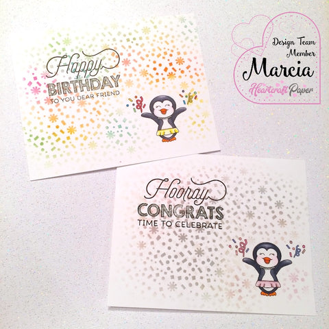 #thefrolickingfairy #heartcraftpaper #penguincelebration #digitalstamp #happynewyear #happybirthday #congrats #celebrate #penguin #stencil #inkblending #distressink #confetti #handmade #handmadecards