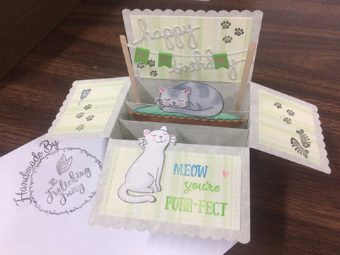 The Frolicking Fairy handmade card birthday cats kittens three dimensional Lawn Fawn pop up card