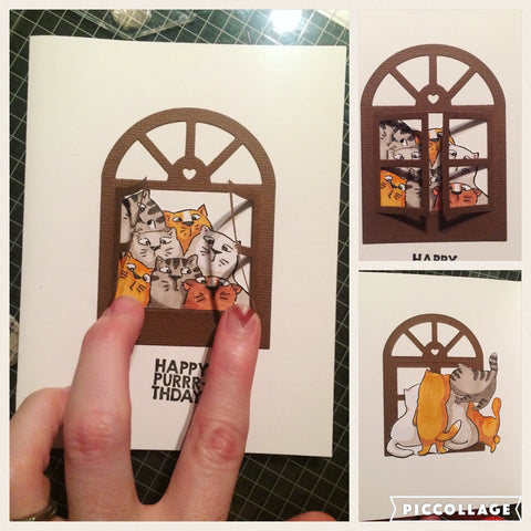 #purrthday #noseynelly #cats #window #artimpressions #thefrolickingfairy #birthday #handmade #handmadecards