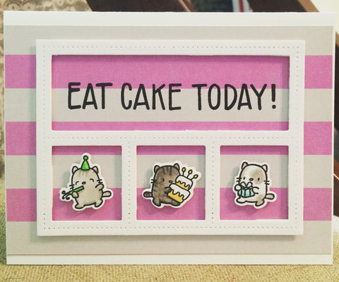 #eatcaketoday #waffleflowercrafts #littlecatagenda #partycats #mamaelephant #thefrolickingfairy #handmade #birthday #handmadecards