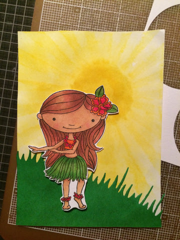 #thefrolickingfairy #mftstamps #fussycutting #sunshine #grass #distressink #behindthescenes #handmadecards #hulagirl