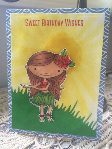 #thefrolickingfairy #mftstamps #alldone #birthdaycard #handmadecard #sweetbirthdaywishes #birthdaygirl #hulagirl