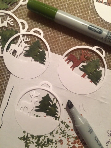 #thefrolickingfairy #sizzix #ornament #behindthescenes #copicmarkers #diecutting