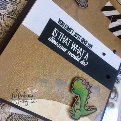 #thefrolickingfairy #inkroadstamps #theinkroad #theonewithallthestamps #whatwouldadinodo #dinosaur #friends #friendsquotes #sweetstampshop #trexlove #tonicstudios #micamist #nuvo #nuvodrops