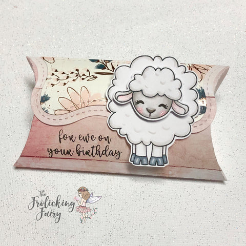 #thefrolickingfairy #jadedblossom #forewe #pillowbox #birthday #treatbox #spectrumnoir #alcoholmarkers #birthdaygift #sheep #lamb #sofluffy #handmade #cardmaker #papercraft #guestdesigner
