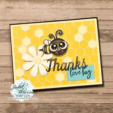 #thefrolickingfairy #jadedblossom #lovebugs #honeycomb #honeycombcardmatdie #coverdie #flowerdies #daisy #worddies #thanks #thankyou #thankyoucard #bee #bumblebee #watercolor #distressmarkers #cardmaker #cardmaking #ilovebugs #honeybee #newrelease