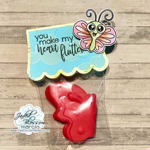 #thefrolickingfairy #jadedblossom #heartflutter #youmakemyheartflutter #lovebugs #butterfly #bugtraildies #cloudstencil #distressoxide #scallopslider #scalloptopperdie #treattag #bugs #insects #cardmaker #cardmaking #watercolor #ilovebugs
