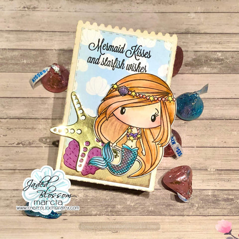 #thefrolickingfairy #jadedblossom #mermaidkisses #mermaid #tropicaldies #goodybagdie #goodie #goodybag #treatbag #watercolor #distressmarkers #distressink #inkblending #starfish #starfishwishes #mermaidparty #partyfavor #cardmaking #papercraft #seashells #ocean #summer