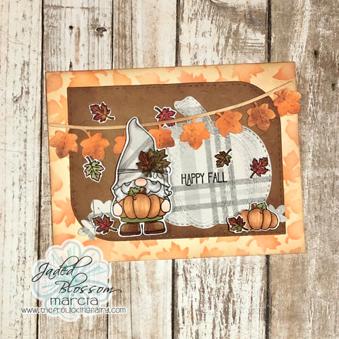 #thefrolickingfairy #jadedblossom #gnome #gnomie #thankfulformygnomie #thanksgiving #thanksgivinggnomie #thankful #fallleaves #stencil #autumn #fall #fallcolors #fallingleaves #plaid #inkblending #distressoxide #paperpiecing #treattag #thanksgivingtreats #handmade #cardmaker #cardmaking #cardmakersofinstagram