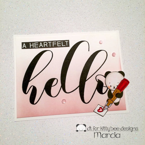 #thefrolickingfairy #kittybeedesigns #withlovepanda #cas #heartfelthello #panda #hello #distressink #copicmarkers #handmande #sendingsmiles