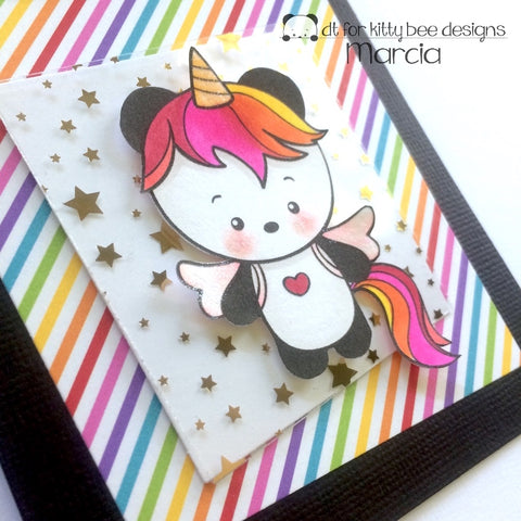 #thefrolickingfairy #kittybeedesigns #unicornpanda #digitalstamp #panda #unicorn #magic #spotlight #costumes #letspretend #copiccoloring #handmade #handmadecards