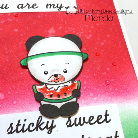 #thefrolickingfairy #kittybeedesigns #watermelonpanda #watermelon #panda #stickysweet #summer #summertreat #distressink #inkblending #copiccoloring #glossyaccents #nuvo #crystaldrops #handmadecards