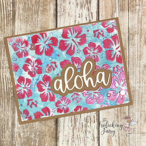 #thefrolickingfairy #kindredstamps #piececraftlove #aloha #alohastencil #hibiscus #hibiscusflowers #stencil #distressoxide #lindysgang #embossing #razzleberryplum #dryembossing #tropical #summer #cardmaking #cardmaker #cardmakersofinstagram #shimmer #tropiclikeitshot