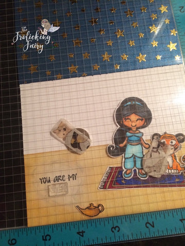 #thefrolickingfairy #kindredstamps #arabianprincess #arabiannights #magiccarpet #coloringguide #stepcard #dimensionalcard #tutorial #copicmarkers #copiccoloring #handmade #handmadecards #foiling #mftstamps #nightsky #stars #genielamp #youaremywish