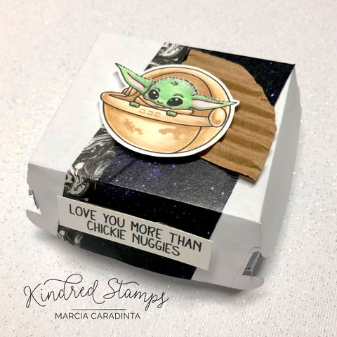 #thefrolickingfairy #kindredstamps #chickienuggies #chickennuggets #donttouchthenuggets #baby #babyalien #cutebaby #fandom #fandombaby #pod #loveyou #loveyoumore #spectrumnoir #alcoholmarkers #papercraft #cardmaking #nuggetbox #diy #treatbox #galaxy