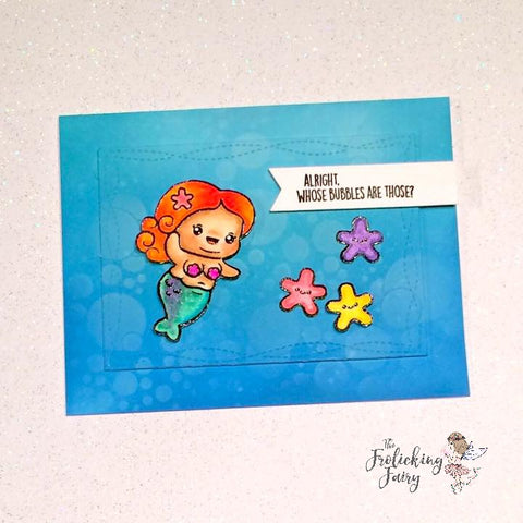 #thefrolickingfairy #kindredstamps #chubbymermaid #mermaid #bubbles #stencil #bubblesstencil #sweetstampshop #whosebubblesarethose #inkblending #distressoxide #cleanandsimple #sofunny #whofarted #waterbubbles #handmade #handmadelaughs