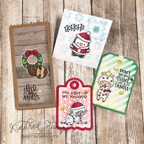 #thefrolickingfairy #kindredstamps #festivefurries #critters #christmas #Christmascritters #jadedblossom #treattags #inkblending #distressoxide #stencils #candycane #peppermintswirl #christmassweater #penguin #santa #sloth #wreath #sheep #llama #christmastags #spectrumnoir #alcoholmarkers #cardmaker #cardmaking #cardmakersofinstagram