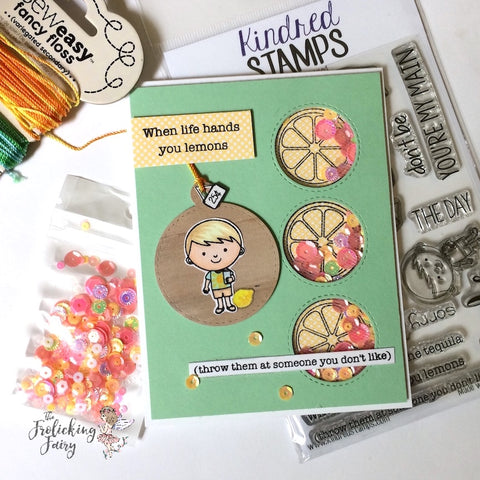 #thefrolickingfairy #kindredstamps #freshsqueezed #lemonade #citrus #fruit #sour #tart #lemonadestand #lemons #whenlifehandsyoulemons #copiccoloring #distressoxides #handmadecards #summer