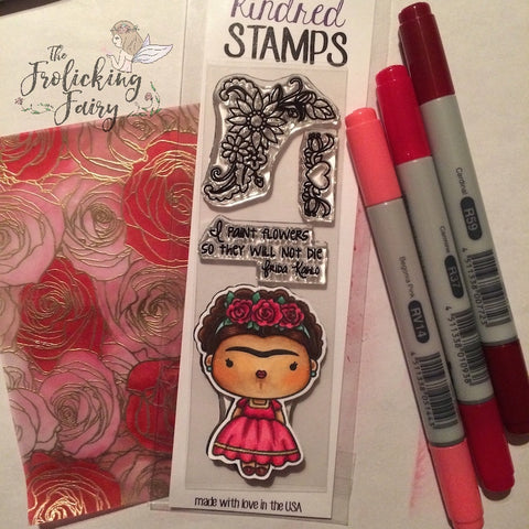 #thefrolickingfairy #kindredstamps #fridakahlo #roses #paintflowers #copiccoloring #mftstamps #goldembossing #fridakahloquotes