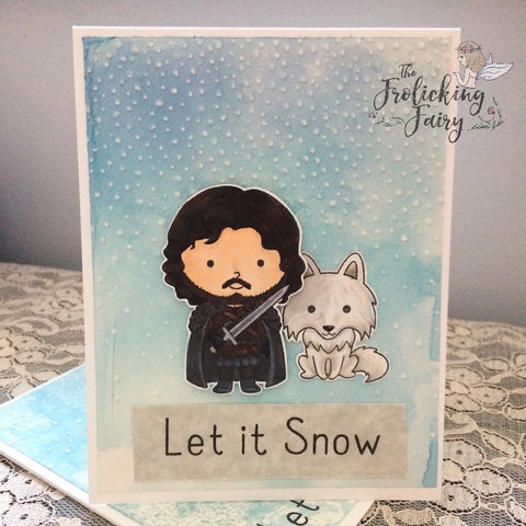 #thefrolickingfairy #kindredstamps #heirstothethrone #letitsnow #direwolf #dragonqueen #dragon #warrior #desert #dragoneggs #copiccoloring #ironthrone #unburnt #sunmoonstars