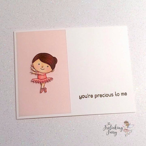 #thefrolickingfairy #kindredstamps #holidayballet #digitalstamp #sizedoesntmatter #casology #casologychallenge #turn #ballerina #tinydancer #precioustome #youareprecious #littlegirls #tutu #cas #cleanandsimple #papercraft #handmade