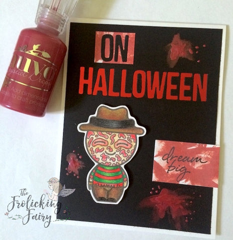 #thefrolickingfairy #kindredstamps #horrorcuties #freddykrueger #horrormovies #fridaythe13th #halloween #creepy #derwent #nuvocrystaldrops #distressoxideink #timholtz #heroarts