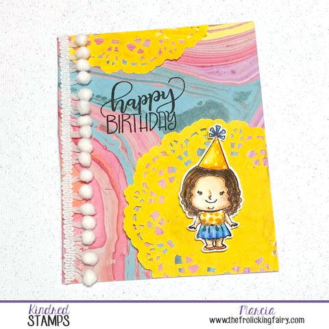 #thefrolickingfairy #kindredstamps #kindredbirthday #birthday #happybirthday #congrats #watercolor #cas #cleanandsimple #pompom #party #papercraft #cardmaker #cardmaking #handmade