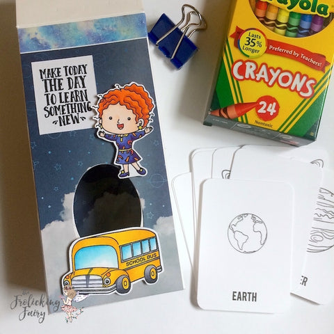 #thefrolickingfairy #kindredstamps #learningisanadventure #magic #schoolbus #teacher #crazyteacher #learningiscool #flashcards #diy #altenew #outerspace #spacetravel #activitykit #handmade