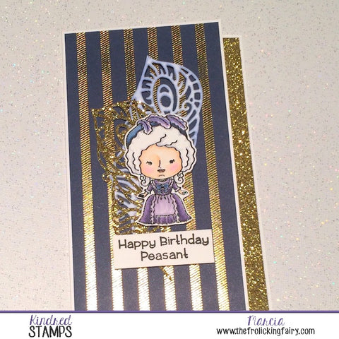 #thefrolickingfairy #kindredstamps #letuseatcake #dontloseyourhead #cake #birthday #18thcentury #peasant #happybirthday #papercraft #stamping #watercolor #arteza #realbrushpens #copiccoloring #handmade #treatbox #sliceofcake