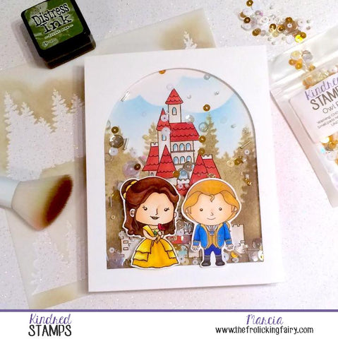 #thefrolickingfairy #kindredstamps #littletownlife #princess #roseprincess #prince #castle #digitalstamp #fairytale #copiccoloring #foreststencil #stencil #distressink #shakercard #owlpost #newrelease #handmade #papercraft