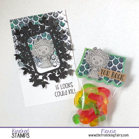 #thefrolickingfairy #kindredstamps #medusa #monster #yourock #iflookscouldkill #nocoloring #papercraft #cardmaker #treattag #gummyworms #halloween #trickortreat #jadedblossom #glittergloss #dragonscales #stencil