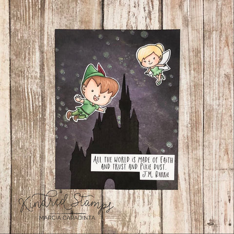 #thefrolickingfairy #kindredstamps #pixiedust #fairy #fly #takeflight #castle #magicalcastle #silhouette #jmbarrie #nevergrowup #faithtrustpixiedust #alcoholmarkers #spectrumnoir #cardmaker #cardmaking #cardmakersofinstagram