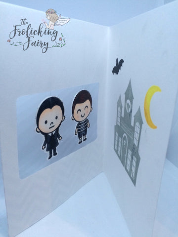 #thefrolickingfairy #kindredstamps #spookyfamily #addamsfamily #spooky #pugsley #pugsleyaddams #wednesdayaddams #spinnercard #normalisanillusion #staycreepy #stayspooky #stayscary