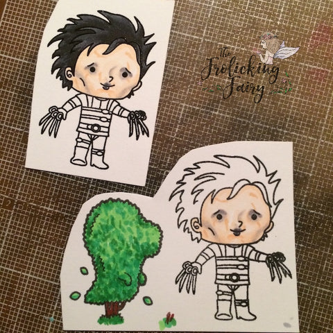 #thefrolickingfairy #kindredstamps #trimthehedges #shrubs #scissors #edwardscissorhands #timburton #johnnydepp #cutup #copiccoloring