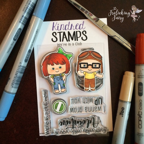#thefrolickingfairy #kindredstamps #wereinaclub #up #growup #upforadventure #club #bottlecaps #friendship #younglove #copiccoloring #coloringguide #shuttercard #tn #travelersnotebook #diy #handmade