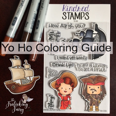 #thefrolickingfairy #kindredstamps #yoho #pirate #caribbean #pirateship #aargh #booty #ahoy #copicmarkers #coloringguide #copiccoloring #maiden #bestmate