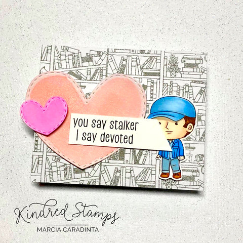 #thefrolickingfairy #kindredstamps #youremyeverything #stalker #love #valentines #valentine #valentinesday #papercraft #bookstore #clerk #devoted #peepingtom #spectrumnoir #alcoholmarkers #fandom #hearts #cardmaker #cardmaking