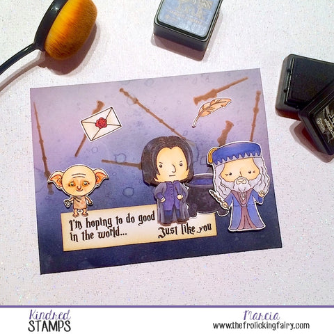#thefrolickingfairy #kindredstamps #kindredstampsfanclub #wittandsassstampco #studentsofmagic #mastersofmagic #magicalcreature #wands #stencil #inkblending #houseelf #magicalschool #wizards #potions #headmaster #magical #handmade