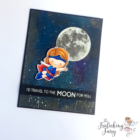 #thefrolickingfairy #lovecynthia #youresuper #altenew #tothemoon #galaxy #tutorial #cleanandsimple #love #super #supergirl #superhero #copiccoloring