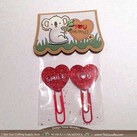 #thefrolickingfairy #lawnfawn #iloveyoucalyptus #koala #eucalyptus #plannerclips #shakerclips #candyhearts #smile #iloveyou #paperclips #hairclip #glittervinyl #bookmark #watercolor #arteza #realbrushpens #7kidscraftingsupplystore #7kidscustomerscreate #cleanandsimple #handmade #papercraft